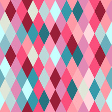 Seamless Lozenge Pattern Of Red, Pink, Blue Colors. Rhombus Repeating Background For Wrapping Paper, Surface Design And Other Design Projects