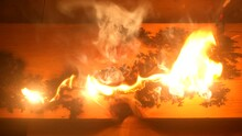 Lichtenberg Fractal Wood Burning. A Fire Is Burning From A Short Circuit On A Wooden Board In A Carpenter's Workshop