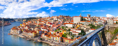 Obraz panorama of beautiful Porto - view with famous bridge of Luis, Portugal - fototapety do salonu