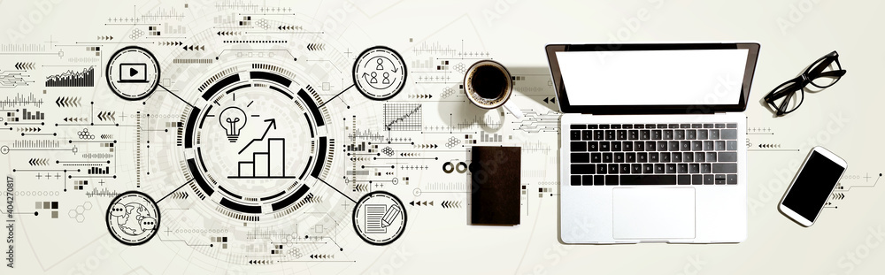 Fototapeta Content marketing concept with a laptop computer on a desk