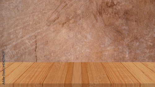 Fototapeta Empty top shelves or table wood on concrete wall background For product and some thing obraz na płótnie
