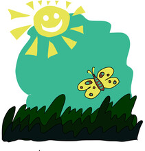 Illustration Of A Butterfly And Sun For Children Or Playground