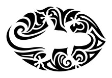 Tribal Tattoo Art With White Gecko Silhouette