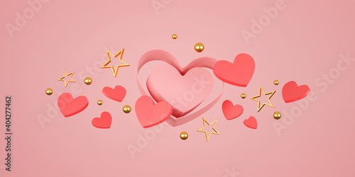 happy valentine's day banner. heart, gift and box on pink background. space for text. 3D illustration