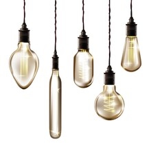 Vintage Light Bulbs Hanging On Filament Set. Retro Decor Design Vector Illustration. Antique Yellow Glowing Lanterns In Glass With Strings From Ceiling On White Background