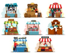 Street Market Stalls And Kiosks With Food Illustration Set. Outdoor Local Fair Vector. Groceries, Fish, Honey, Flowers, Vegetables, Fruits, Meat, Bakery, Dairy Stores. Wooden Booth With Merchants