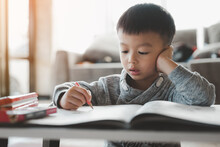 Asian Boy Doing Homework With The Intention. Child Boy Holding Pencil Writing, A Boy Drawing On White Paper At The Table,Elementary School And Home Schooling, Distance Education Concept.