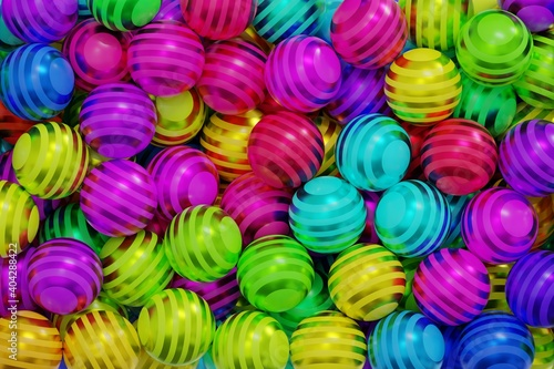 Foto Plastic colored balls with shiny stripes, colorful background filled with sphere