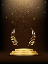 Golden Three Step Podium With Laurel Wreath Under Falling Gold Glitter Isolated On Dark Background. Vector Illustration.