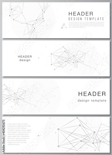 Obraz Vector layout of headers, banner templates for website footer design, horizontal flyer design, website header backgrounds. Gray technology background with connecting lines and dots. Network concept. - fototapety do salonu
