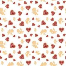 Icons: Heart And Angel Seamless Pattern White Background