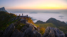 The Mountain Features A Long Ridge, A Viewpoint, Sea Mist And Sunrise, Name Doi Pha Mon, Chiang Rai, Thailand.