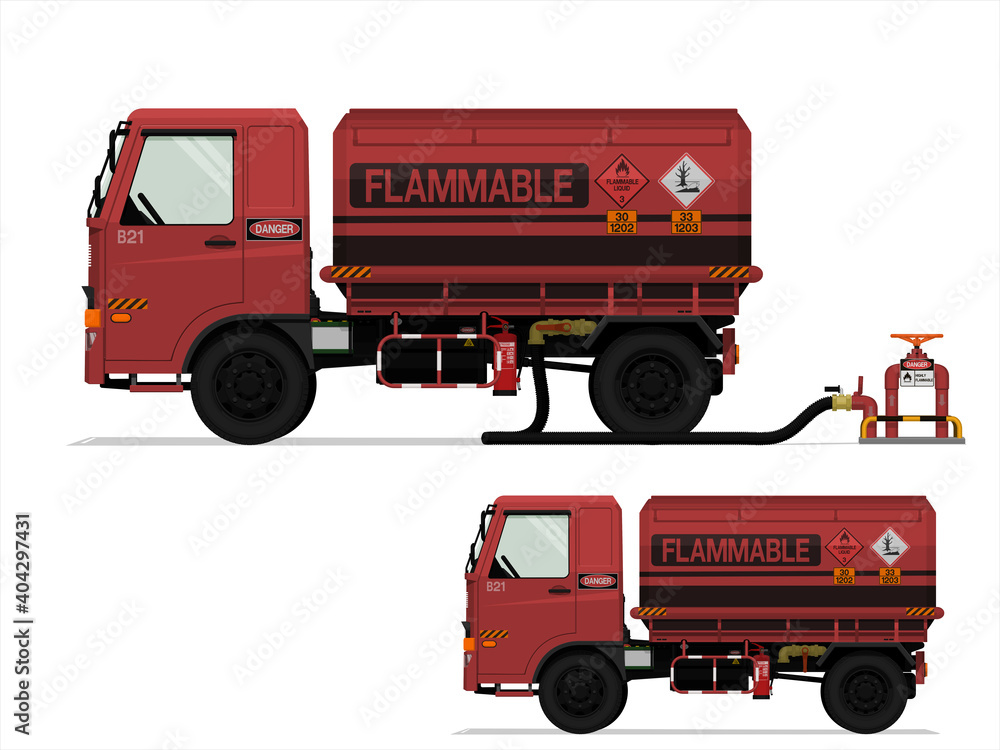Fototapeta Isolated flammable liquid truck on white background