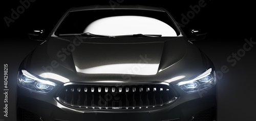 Obraz Front view of modern black premium car - fototapety do salonu