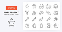 Barbecue And Grill Line Icons 256 X 256