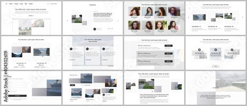 Fototapeta Bundle of editable business templates for digital app, web products. Vector templates for website design, presentations, portfolio, presentation slides, flyer, leaflet, brochure cover, annual report. obraz