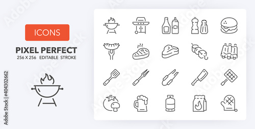 Canvas barbecue and grill line icons 256 x 256