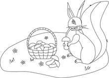 Coloring A Squirrel Sits In A Clearing Near A Basket Of Mushrooms And Holds A Mushroom In Its Paws, Two Mushrooms Lie In A Clearing, Flowers Grow In A Clearing