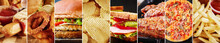 Unhealthy Food Collage. Various Food Product Background, Long Banner