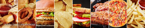 Unhealthy food collage. Various food product background, long banner © Alexander Borisenko