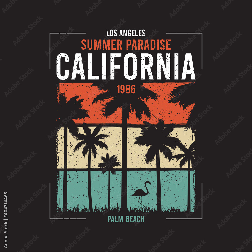 Fototapeta California t-shirt design with silhouette of palm trees and flamingo at color grunge background. Typography graphics for apparel, tee shirt print. Vector illustration.