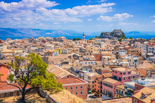 Corfu, Greece. Panoramic View Of Old Town As Seen From New Fortress.