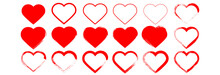 Red Hearts Icons Vector Set.Hand Drawn Hearts For Web Site, Love Symbol And Valentine's Day.Red Hearts Isolated On White Background.