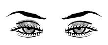 Ojos De Mujer En Estética De Grabado