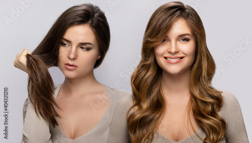 Obraz Result of makeover. Woman with a beautiful hair after dyeing and styling. - fototapety do salonu