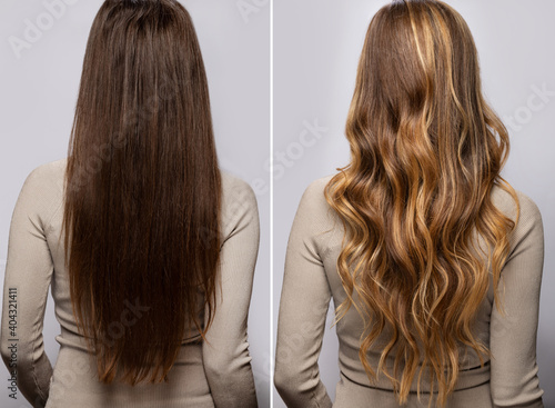 Hair after dyeing and styling in a professional salon