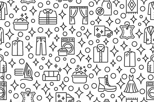 Fotografie, Obraz Dry cleaning and laundry seamless pattern with flat line icons