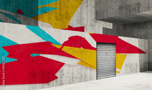 Gray walls with metal door and colorful graffiti, 3d