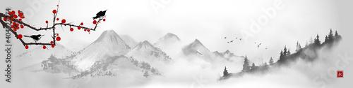 Fototapeta Landscape with little birds on sakura branch and distant mountains. Traditional oriental ink painting sumi-e, u-sin, go-hua. Translation of hieroglyph - eternity. obraz