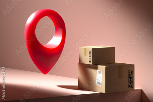 Concept of online orders, shopping, delivery and tracking of parcel. Cardboard boxes on pink showcase near map pin. Minimalism. High quality 3d rendering