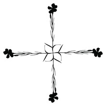 Cross Made Of Four Branches Of Wild Carnation Flower. Square Floral Decoration. Right Angle Border. Rectangular Botanical Design. Black Silhouette On White Background.