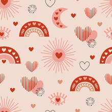 Seamless Pattern With Love Boho Sun, Rainbow, Moon