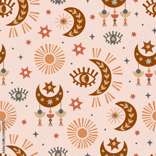 Photo seamless pattern with  celestial eye, moon, sun