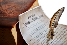 Bill Of Rights Amendments With Vintage Book And A Quill Pen