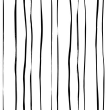 Hand Drawn Thin Doodle Lines Vector Seamless Pattern. Black Freehand Vertical Stripes. Abstract Vector Geometric Black And White Simple Pattern. Print For Interior Design, Wrapping Paper, Fabric.