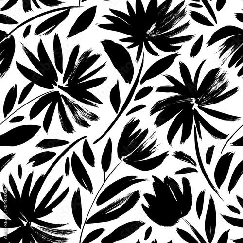 Black aster vector seamless pattern Fototapet