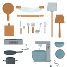 Set Of Kitchen Utensils. Kitchen Tools For Cooking, Baking, Making Pizza: Rolling Pin, Kneader, Kitchen Utensils. Vector. Isolated. Flat.
