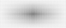 Symmetrical Halftone Pattern. Audio Equalizer Concept. Black Spots On A White Background. Vector Monochrome Dotted Straight Lines. Abstract Digital Graphic. Technology Design. Optical Illusion. EPS10