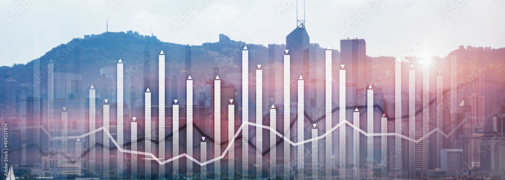 Fototapeta Financial growth chart graph diagram analysis big data trading investment concept. city view skyline website header banner double exposure.