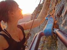 CLOSE UP: Golden Summer Sunbeams Shine On Female Rock-climber During Her Climb.