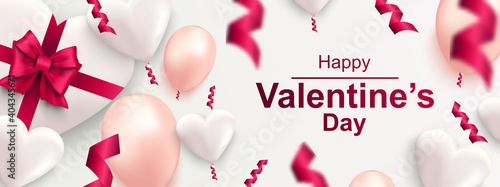Happy Valentines day horizontal web banner. Realistic gift box with bow, heart, confetti and balloons. Banner for holiday poster, greeting cards, header, landing page, website. Vector illustration.