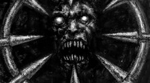 Scary Demon Face Illustration Fearfully Devil Mask With Spikes. Horror Fantasy Digital Art. Spooky 2D Image. Gloomy Character Concept Art. Culture And Religion. Coal, Grunge And Noise Effects.
