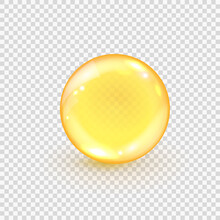 Collagen Golden Bubble Isolated On Transparent Background. Realistic Gold Oil Ball. Capsule Pills Of Omega-3, Fish Oil, Vitamin E Or D. Vector Illustration Of Amber Serum Droplet For Hair Or Beauty