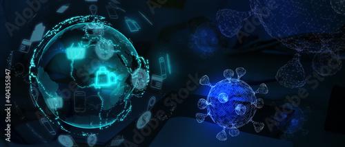 Foto 3D Illustration online shopping retail Globe and virus help customer shop buy on