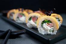 Tuna And Cheese Sushi Rolls, Food Background