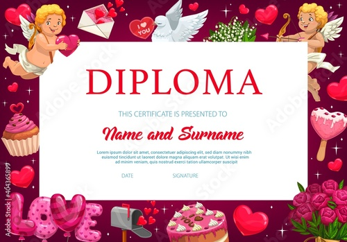 Fototapeta Saint Valentine day child kindergarten diploma, certificate